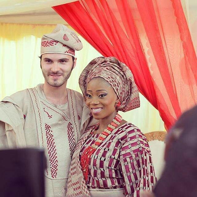 Tosyn Bucknor and husband Aurelien Boyer at their wedding. (Image Credit: Sugar Weddings)