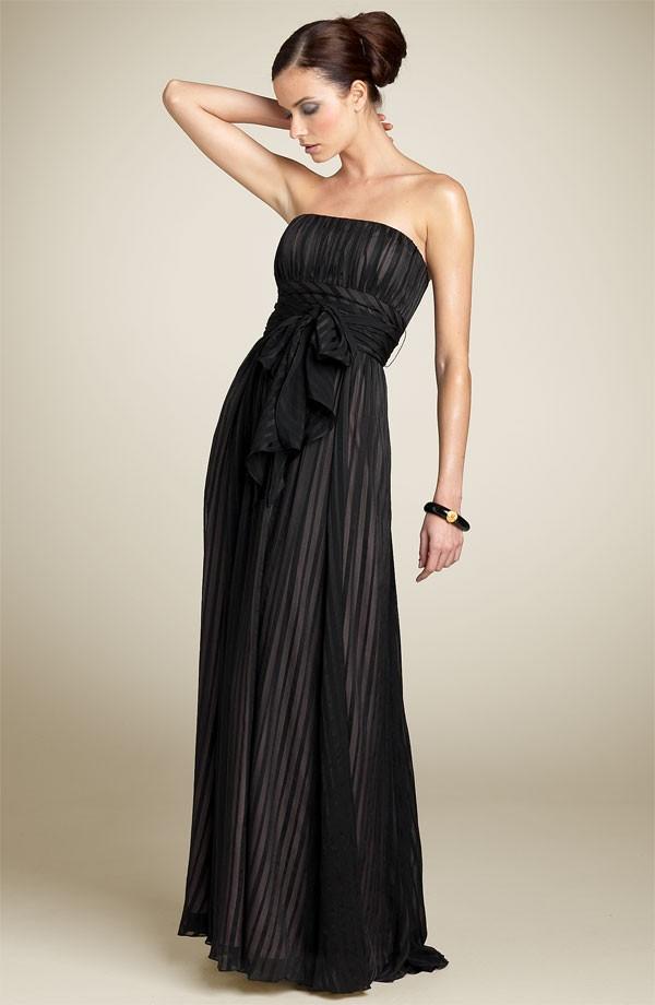 BCBG MAXAZRIA Strapless Crinkle Satin Gown