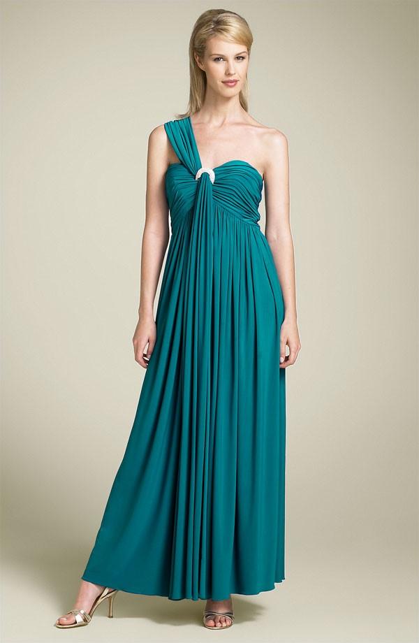 Cachet One Shoulder Empire Waist Jersey Gown