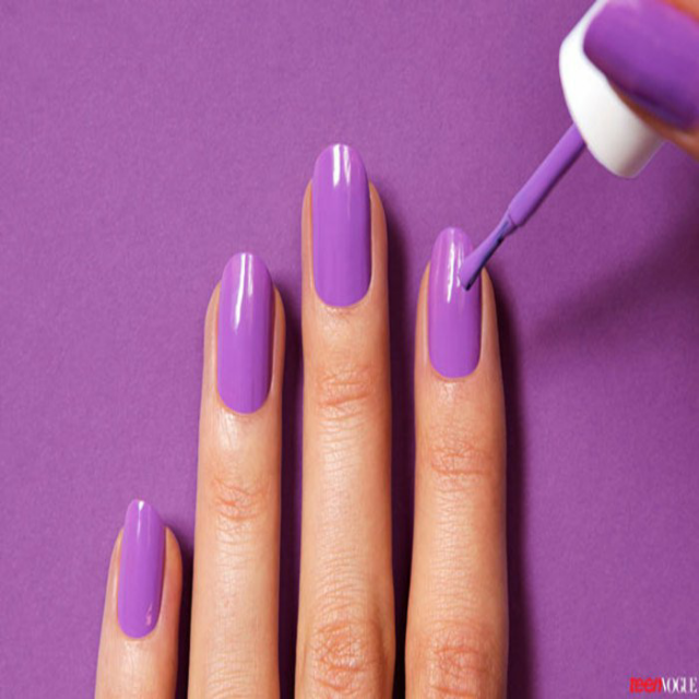 Diy tutorial purple nail art sugar weddings parties step 2 use a base coat to create a smooth even surface for your nail polish base coat is commonly known as nail hardener solutioingenieria Images