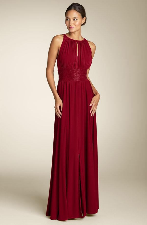 JS Boutique Cutaway Shoulder Beaded Waist Gown