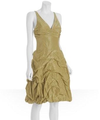 Nicole Miller Olive V Neck Tafetta Bubble Dress