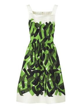 Oscar De La Renta Brushstrok Print Tank Dress