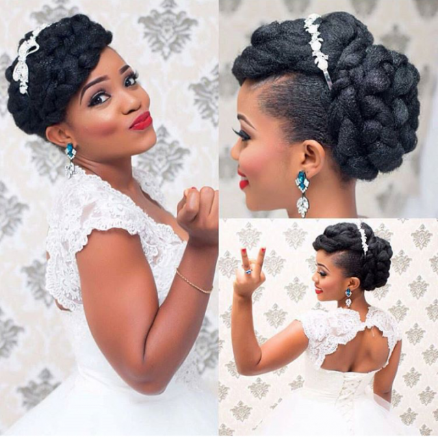 16 stunning hairstyles for nigerian brides her excitement is contagious we are in our feelings here over her picture perfect braided bun and fringe bridalhairstyles junglespirit Image collections