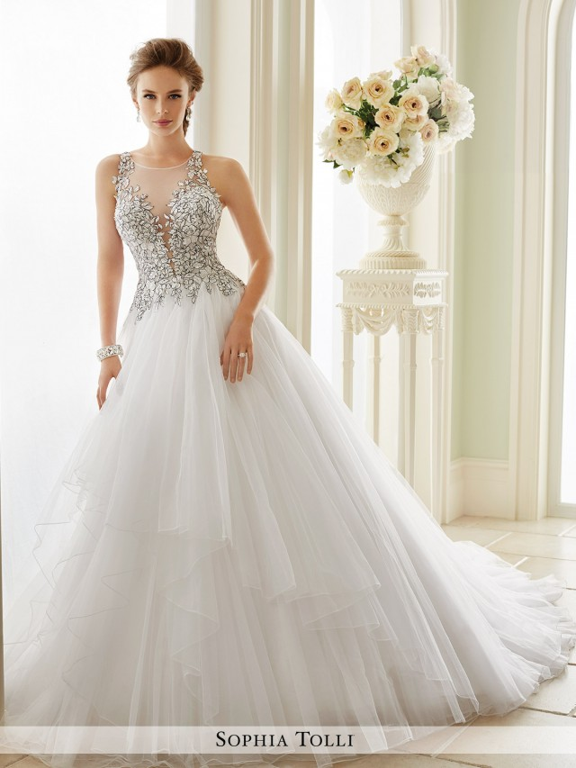 26cb0fca182 Dolce Vita Sleeveless misty tulle ball gown with slender illusion lace  straps