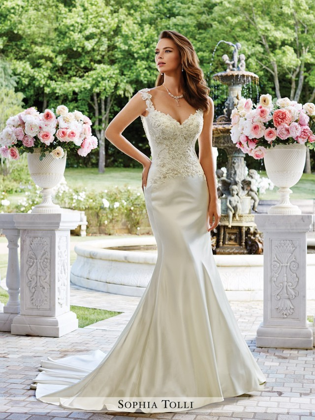 5926c150fbe Fontana Venus satin fit and flare gown with lace slight cap sleeves