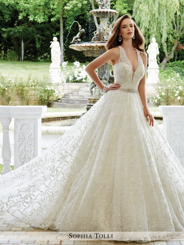e2afef5309 Firenze Sleeveless allover lace over sequin ball gown with illusion and  lace shoulder straps and plunging V-neckline with illusion panel